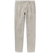 Incotex Slim Fit Linen And Cotton Blend Trousers Light Gray