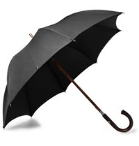 Francesco Maglia Chestnut Wood Handle Twill Umbrella Black