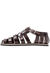 Melvin And Hamilton Sandals Classic Dark Brown Modica White Navy