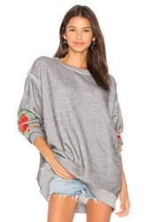 Wildfox Couture Roses Embroidered Roadtrip Sweater Gray