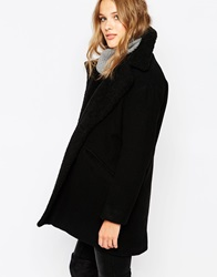 Suncoo Enora Pea Coat With Shearling Collar Noir