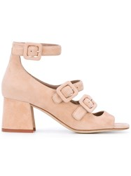 Gianna Meliani Block Heel Strappy Sandals Women Leather Suede 36 Pink Purple