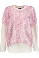 Giambattista Valli Floral Print Satin And Cotton Jersey Sweatshirt