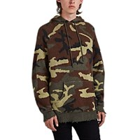 R 13 Camouflage Cashmere Jacquard Oversized Hoodie Olive Pat.