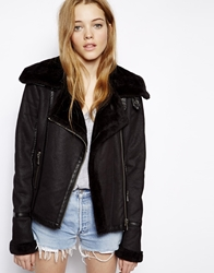 Barney's Originals Barneys Biker Jacket In Faux Shearling Black