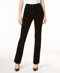 Charter Club Flocked Lexington Straight Leg Jeans Created For Macy's Black Rinse Damask Combo