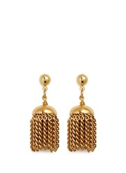 Ela Stone 'Gilda Pom Pom' Brass Tassel Earrings Metallic