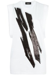 Dsquared2 Tiger Flash Sequinned Tank Top White