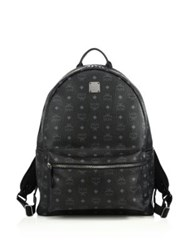 Mcm Stark Coated Canvas Monogram Backpack Cognac Black