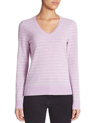 Lord And Taylor Striped V Neck Cashmere Sweater