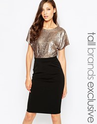 Paper Dolls Tall Sequin Bodice Pencil Dress With Wrap Back Black