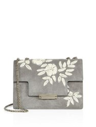 Aerin Floral Embroidered Suede Crossbody Bag Marmo