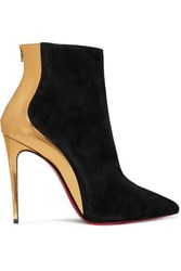 Christian Louboutin Delicotte 100 Suede And Mirrored Leather Ankle Boots Black