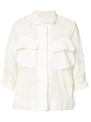 Sacai Lace Military Shirt Women Cotton Polyester 1 Nude Neutrals