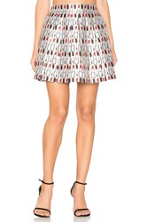 Alice Olivia Fizer Pleat Mini Skirt Ivory