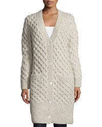 Michael Kors Collection Button Front Textured Long Cardigan Oatmeal Melange Women's Size Xs S