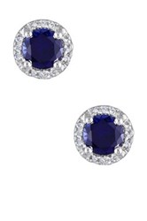 Sterling Silver Created Blue Sapphire And Diamond Round Stud Earrings