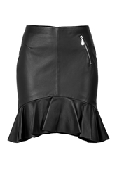 Mcq By Alexander Mcqueen Leather Skirt With Ruffle Hem