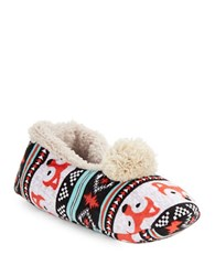 Kensie Sherpa Lined Fox Print Slippers Teal Multi