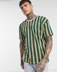 Only And Sons Dropped Shoulder Vertical Stripe Logo T Shirt In Yellow