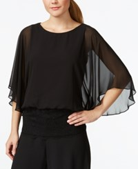 Msk Angel Sleeve Banded Lace Blouse Black