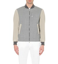 Brunello Cucinelli Colour Block Wool Blend Bomber Jacket Rope Grey