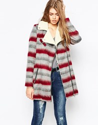 Noisy May Plaid Asymmetric Zip Coat Multi