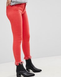 Only Coloured Skinny Jean With Frayed Hem Flame Scarlet