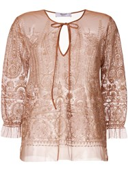 Blugirl Embroidered Floral Blouse Nude And Neutrals