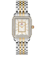 Michele Deco Ii 16 Diamond Mother Of Pearl 18K Goldplated And Stainless Steel Bracelet Watch Silver Gold