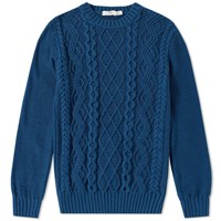 Inis Meain Arran Beach Crew Knit Blue