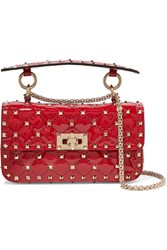 Valentino Garavani The Rockstud Spike Small Quilted Patent Leather Shoulder Bag Red