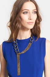 Lanvin Chain Link And Leather Necklace Crystal