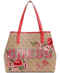 Guess Vikky Signature Floral Tote Brown Gold