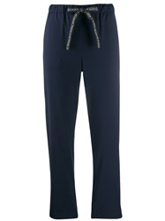 Semicouture Cropped Track Pants Blue