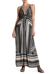 Hale Bob V Neck Print Maxi Dress Black