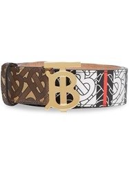 Burberry Monogram Stripe E Canvas And Leather Belt Brown