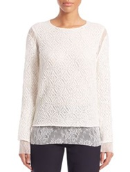 Comme Des Garcons Lace Insert Crochet Sweater Off White
