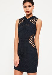 Missguided Navy Lace Cut Out Cross Neck Bodycon Dress