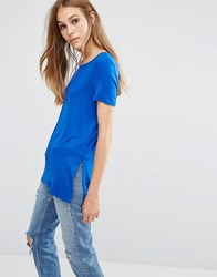 Vero Moda Long T Shirt With Side Splits Shiny Cobolt Blue