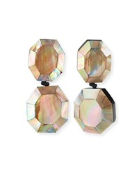 Viktoria Hayman Faceted Double Drop Mother Of Pearl Clip On Earrings Blush