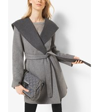 Hooded Wool Blend Wrap Coat