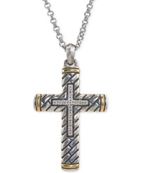 Esquire Men's Jewelry Diamond Two Tone Cross Pendant Necklace 1 5 Ct. T.W. In Sterling Silver And 14K Gold Created For Macy's