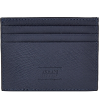Armani Collezioni Saffiano Leather Card Holder Navy Gry