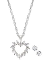 Charter Club Silver Tone Crystal Heart Pendant Necklace And Stud Earrings Set Only At Macy's