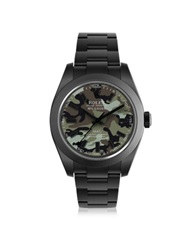 Mad Customized Watches Customized Rolex Milgauss Green Camo Dial Men's Watch Black