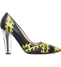 Moschino Caution Tape Leather Heeled Courts Yellow