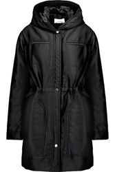 Carven Gathered Twill Hooded Coat Black