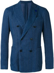 Lardini Striped Blazer Blue