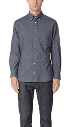 Gitman Brothers Vintage Long Sleeve Flannel Chambray Shirt Navy
